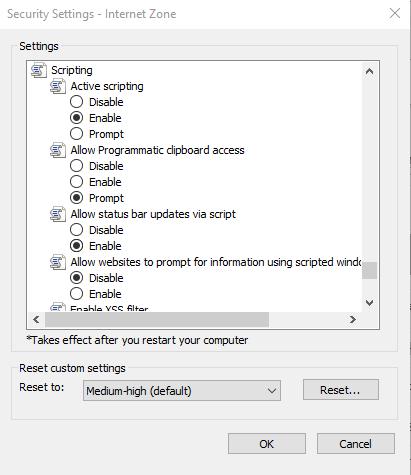 IE_setting()Allow status bar updates via script