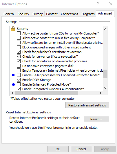 IE_setting(Enable Enhanced Protected Mode/Uncheck)